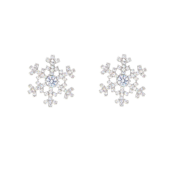 Dear Deer White Gold Plated Christmas Snowflake CZ Pave Stud Earrings