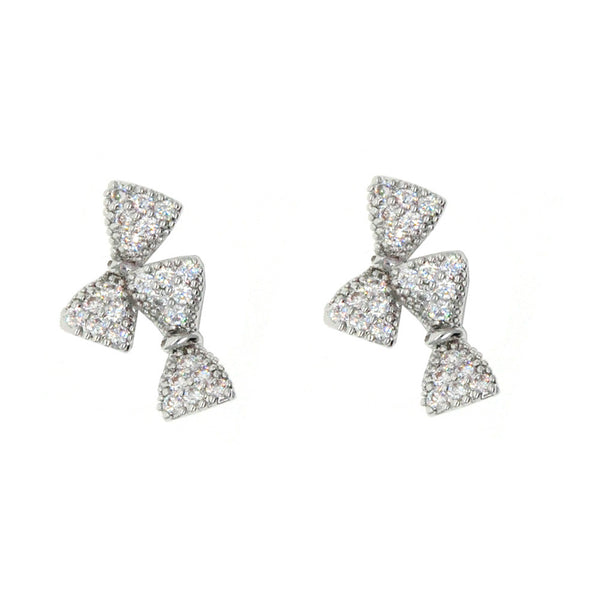 Dear Deer White Gold Plated Double Bow Tie CZ Pave Stud Earrings