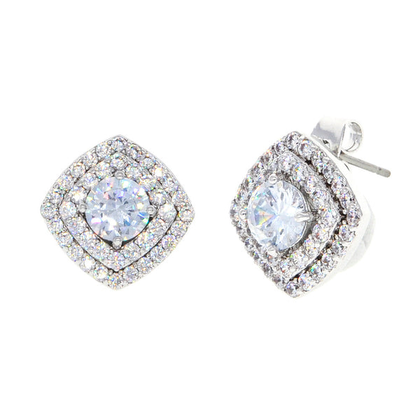Dear Deer White Gold Plated Square White Cubic Zirconia Stud Earrings