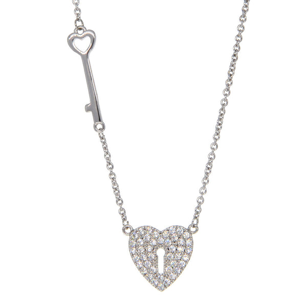 Dear Deer White Gold Plated Key to Your Heart CZ Pave Pendant Necklace