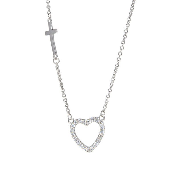 White Gold Plated Heart and Cross Necklace Pendant Necklace