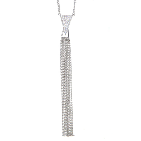 Dear Deer White Gold Plated Triangle Tassel CZ Pave Pendant Necklace