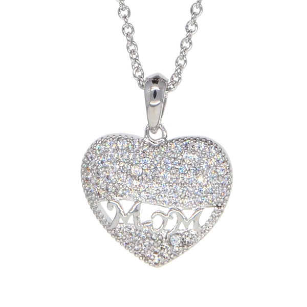 "White Gold Plated ""Mom"" into Heart Pendant Necklace for Mother's Day"