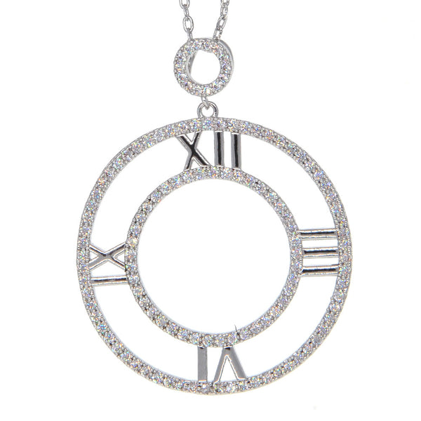 Dear Deer White Gold Plated Timeless Clock CZ Pave Pendant Necklace