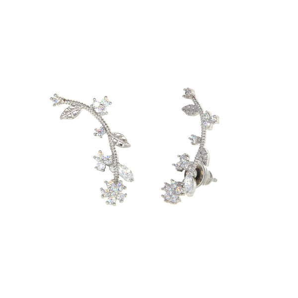 Dear Deer White Gold Plated Leaves Branches Floral Flower CZ Stud Earrings