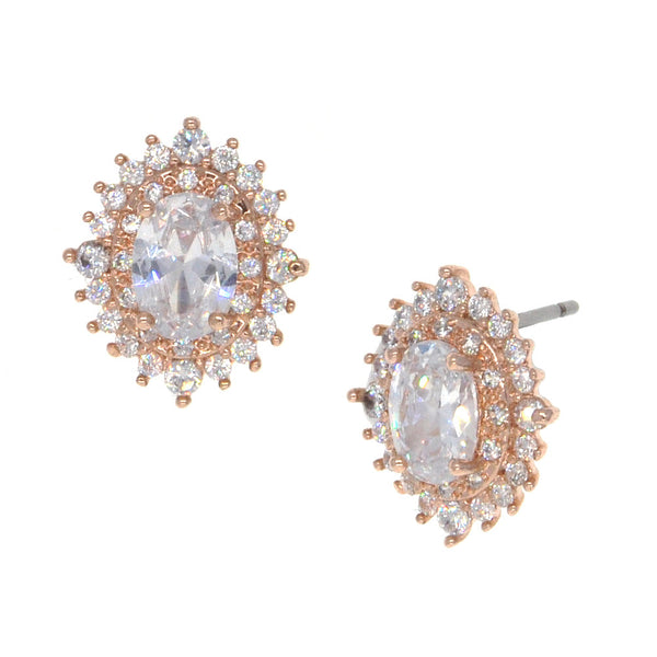 Dear Deer Rose Gold Plated Oval CZ Stud Earrings