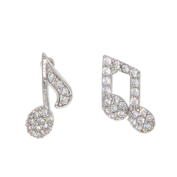 Dear Deer White Gold Plated Music Notes Treble and Bass Stud Earrings