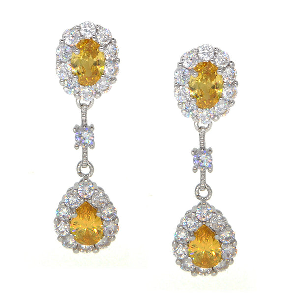 Dear Deer White Gold Plated Classic Yellow Dangle Teardrop Earrings