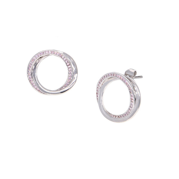 Dear Deer White Gold Plated Double Hoops CZ Pave Stud Earrings
