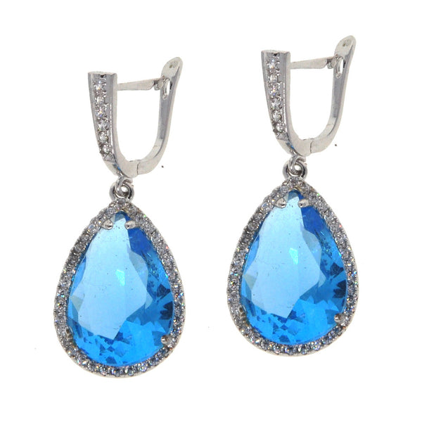 Dear Deer White Gold Plated Blue Cubic Zirconia Dangle Drop Earrings