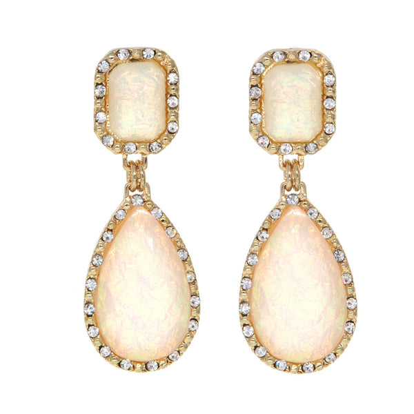 Dear Deer Irisdecent Fluorescent Opalite Designer Vintage Classic White Drop Earrings