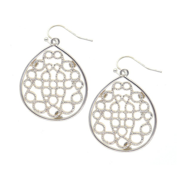 Dear Deer Filigree Tear Drop Silver Tone Dangle Earrings