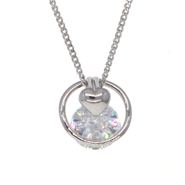 Dear Deer White Gold Plated Heart in Hoop CZ Pendant Necklace