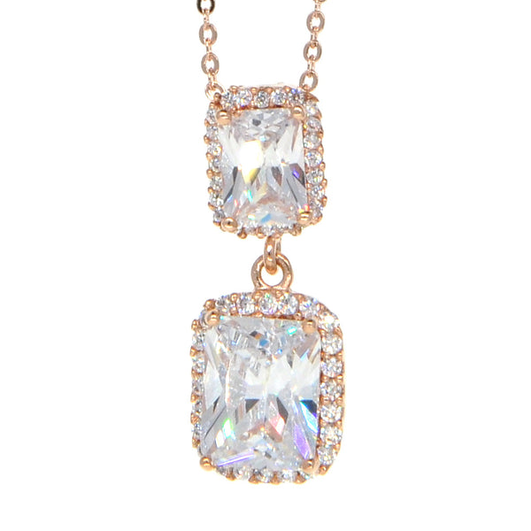 Dear Deer Rose Gold Plated Cubic Zirconia Classic Double Square Pendant Necklace
