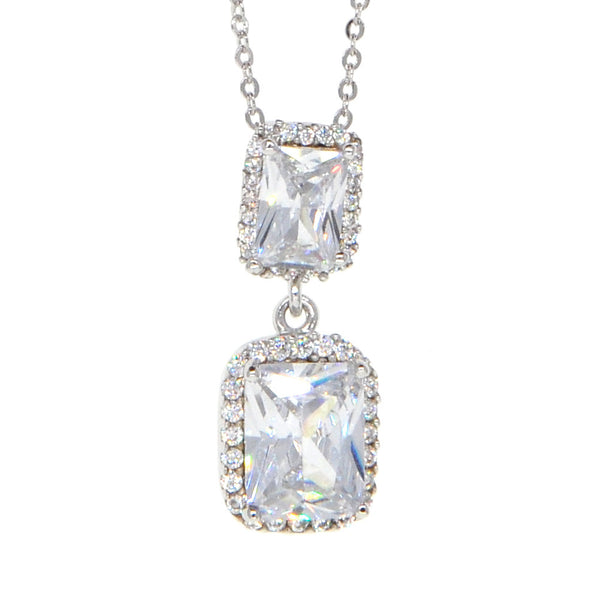 Dear Deer White Gold Plated Cubic Zirconia Classic Double Square Pendant Necklace