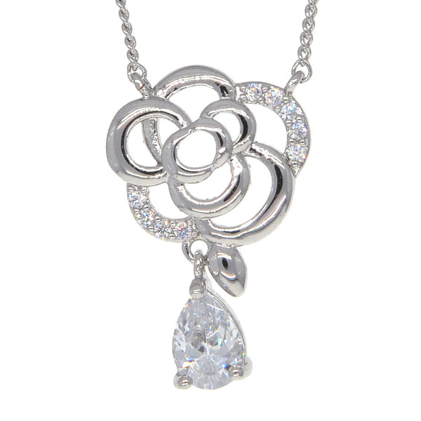 Dear Deer White Gold Plated Floral Teardrop CZ Pendant Necklace