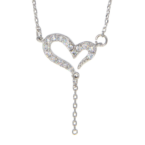 Dear Deer White Gold Plated Heart CZ Pendant Necklace