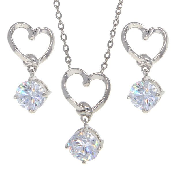 Dear Deer White Gold Plated Heart CZ Jewelry Set