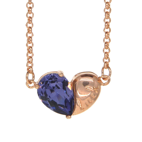 Dear Deer Rose Gold Plated Cubic Zirconia Purple Lucky Heart Pendant Necklace