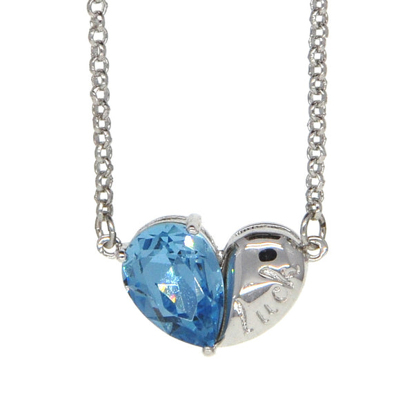 Dear Deer White Gold Plated Cubic Zirconia Blue Lucky Heart Pendant Necklace