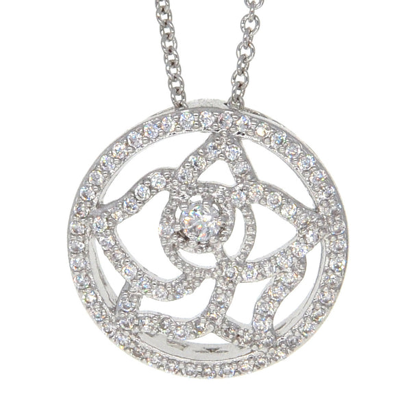 Dear Deer White Gold Plated Pave CZ Floral Pendant Necklace