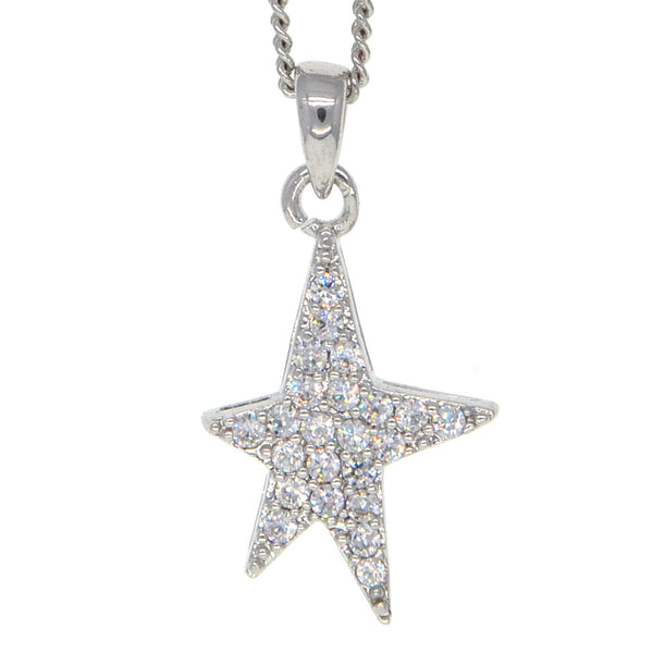 Dear Deer White Gold Plated Pave CZ Star Pendant Necklace