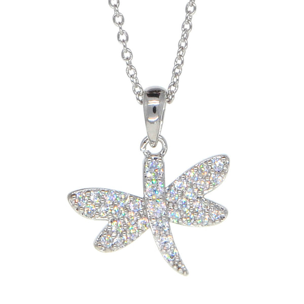 Dear Deer White Gold Plated Dragonfly Butterfly Pendant Necklace