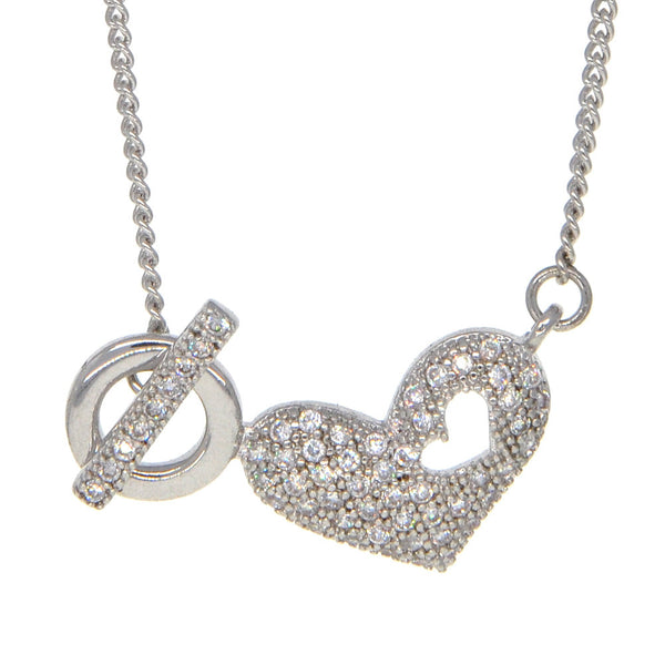 Dear Deer White Gold Plated Heart Pave CZ Pendant Necklace