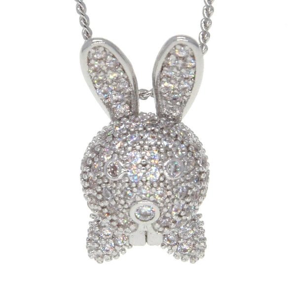 Dear Deer White Gold Plated Mr. Rabbit with Bow Tie Pendant Necklace
