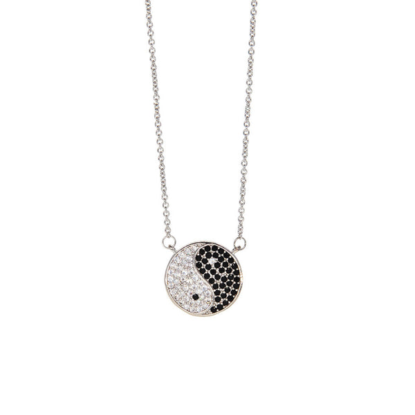 Dear Deer White Gold Plated Lucky Yin Yang Tai Chi Cubic Zirconia Pave Pendant Necklace