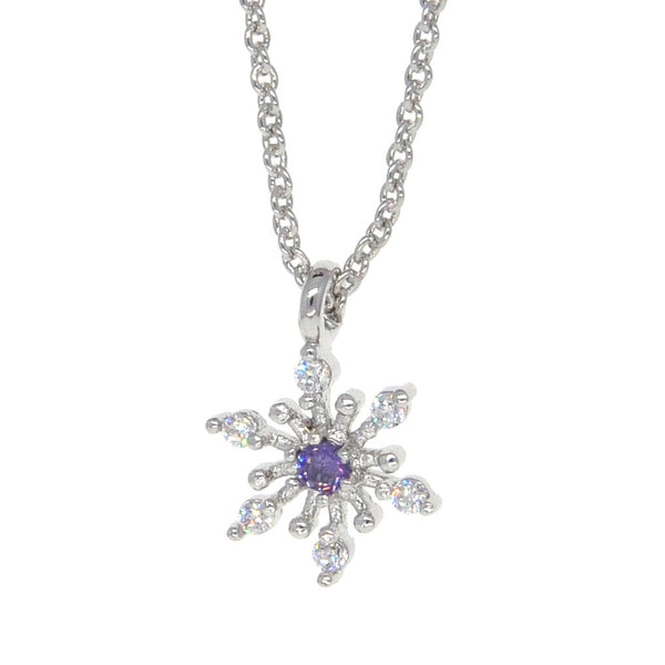 Dear Deer White Gold Plated Delicate Snowflake Floral Pendant Necklace