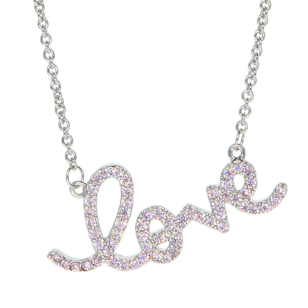 White Gold Plated Cubic Zirconia Script Word Pink LOVE Necklace Pendant Necklace