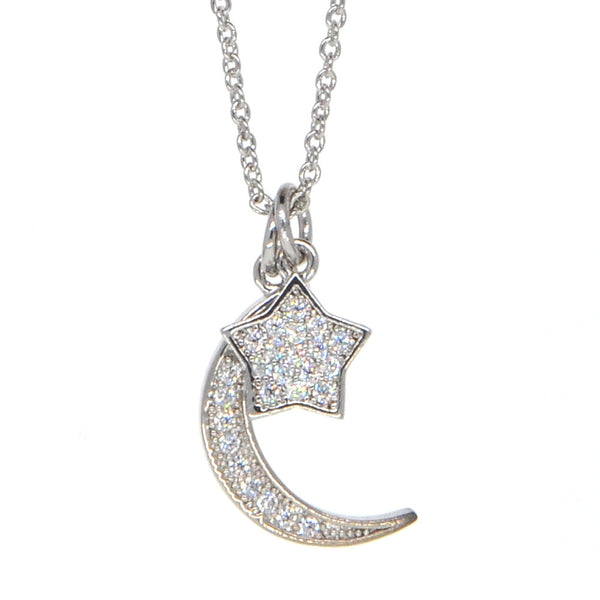 Dear Deer White Gold Plated Moon and Star Pendant Necklace