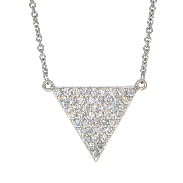 Dear Deer White Gold Plated Triangle CZ Pave Pendant Necklace