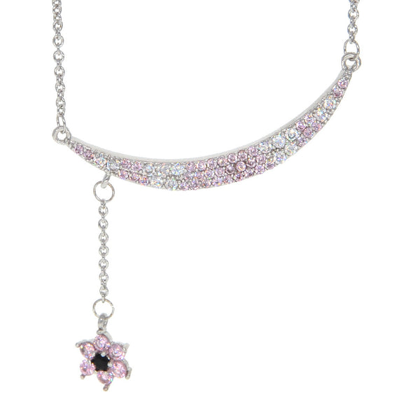 Dear Deer White Gold Plated CZ Pave Floral Crescent Moon Pink and White Pendant Necklace