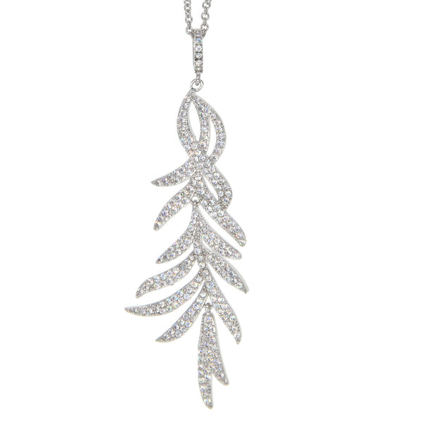 Dear Deer White Gold Plated Pave CZ Branches Pendant Necklace