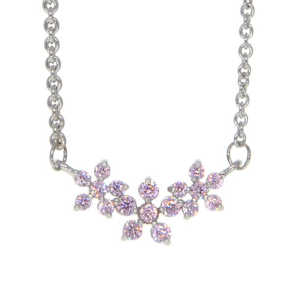 Dear Deer White Gold Plated Pink Flowers CZ Pendant Necklace