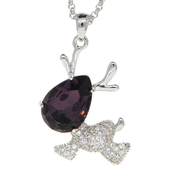 Dear Deer White Gold Plated Cubic Zirconia Purple Reindeer Pendant Necklace