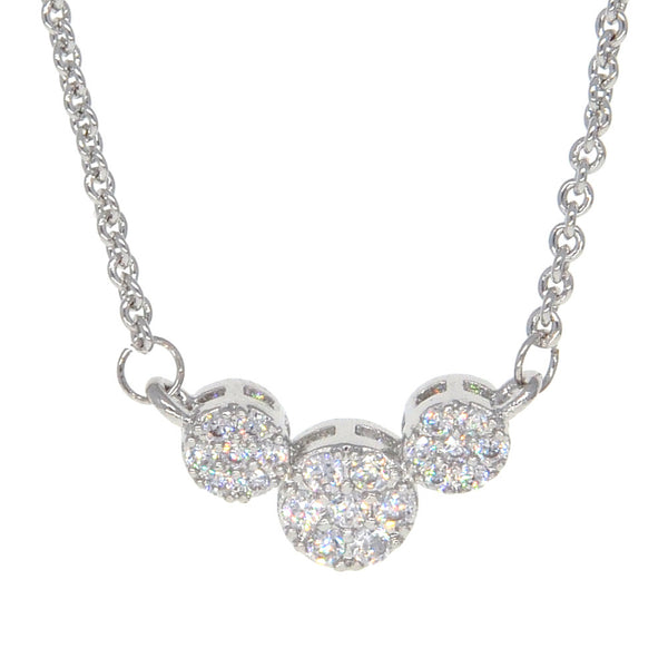 Dear Deer White Gold Plated CZ Pave 3 Stone Pendant Necklace