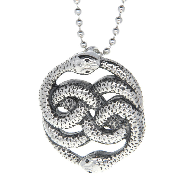 Dear Deer Stainless Steel Serpent Snake Intricate Pattern Medallion Pendant Necklace