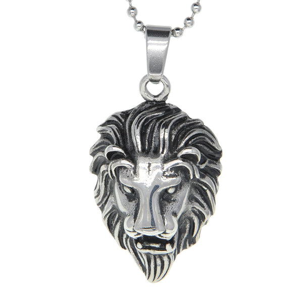 Dear Deer Stainless Steel Calm Lion Medallion Pendant Necklace