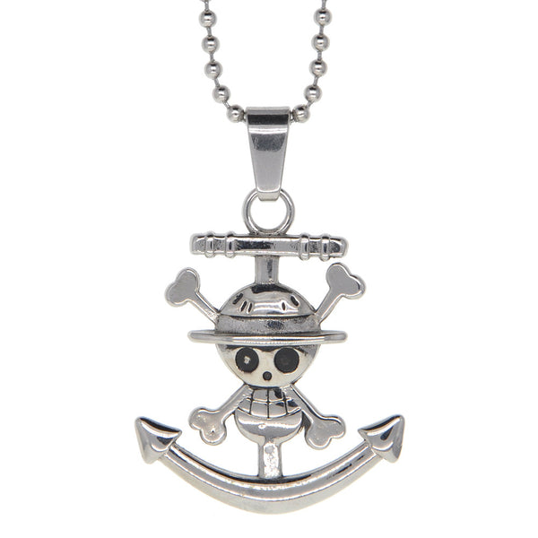 Dear Deer Stainless Steel One Piece Skull Medallion Pendant Necklace