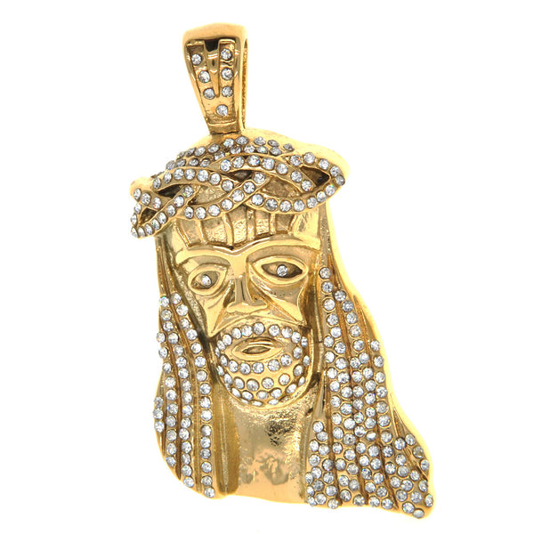 Dear Deer Stainless Steel Crystal Pave Golden Jesus Christ Medallion Pendant Necklace