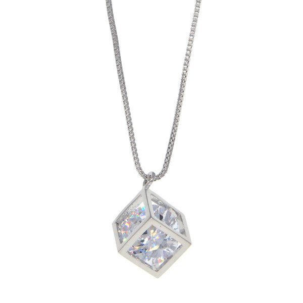 Dear Deer White Gold Plated Stone in the Box CZ Pendant Necklace