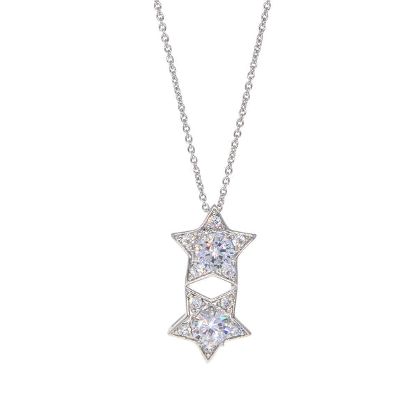Dear Deer White Gold Plated Lucky Double Stars CZ Pendant Necklace