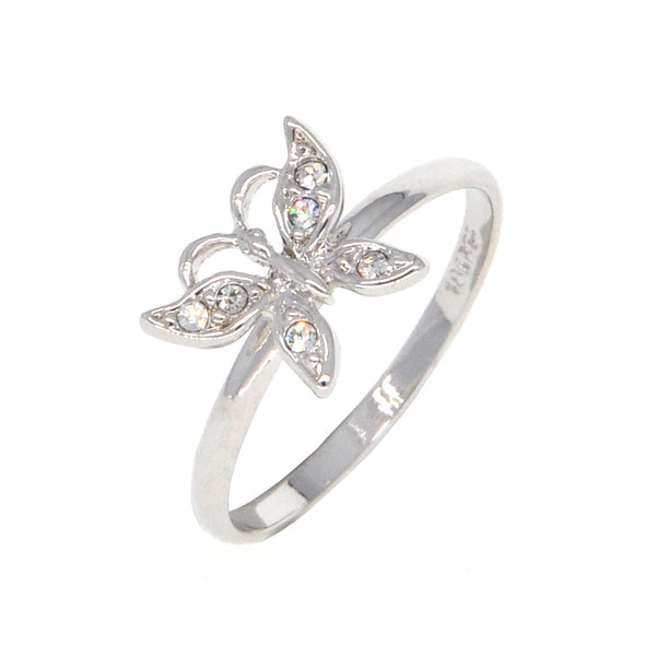 Dear Deer White Gold Plated CZ Pave Butterfly Cocktail Ring
