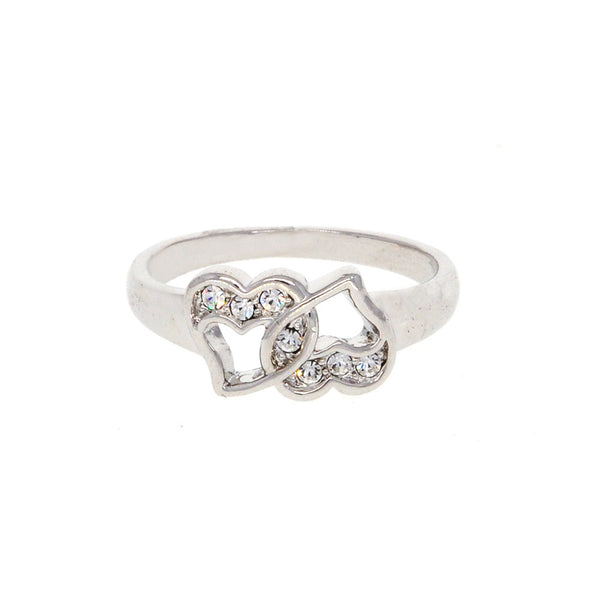 Dear Deer White Gold Plated Double Heart CZ Band Ring