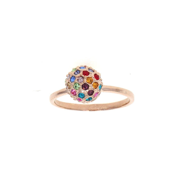 Dear Deer Rose Gold Plated Multicolor CZ Ball Cocktail Ring