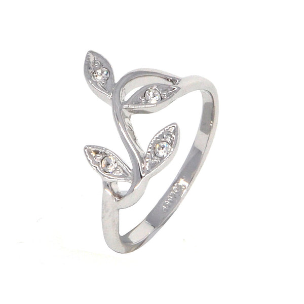 Dear Deer White Gold Open End Olive Branch Leaves Band Ring