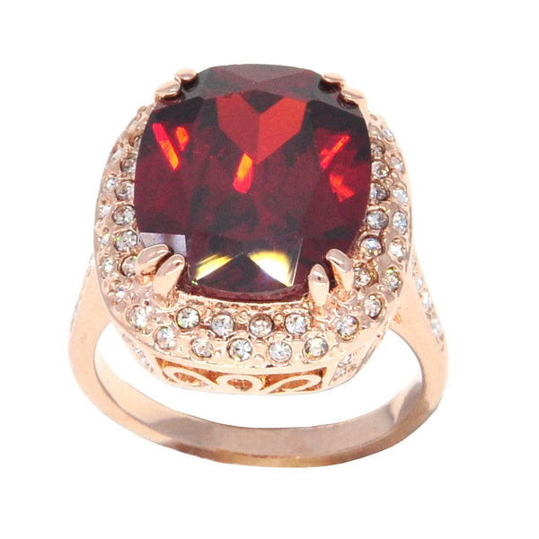 Dear Deer Rose Gold Plated Classic Filigree Red Cubic Zirconia Cocktail Ring